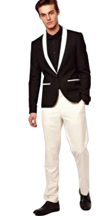 Men's Shawl Lapel Button Closure Single Breasted Black Tuxedo Suit