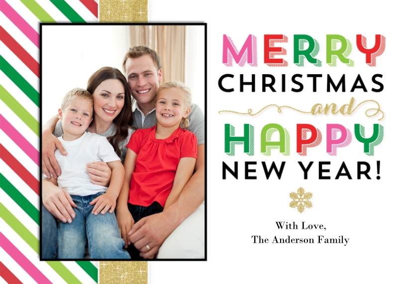 Christmas Photo Cards 5x7 Cards, Premium Cardstock 120lb with Elegant Corners, Card & Stationery -Christmas Gold Colorful Stripes