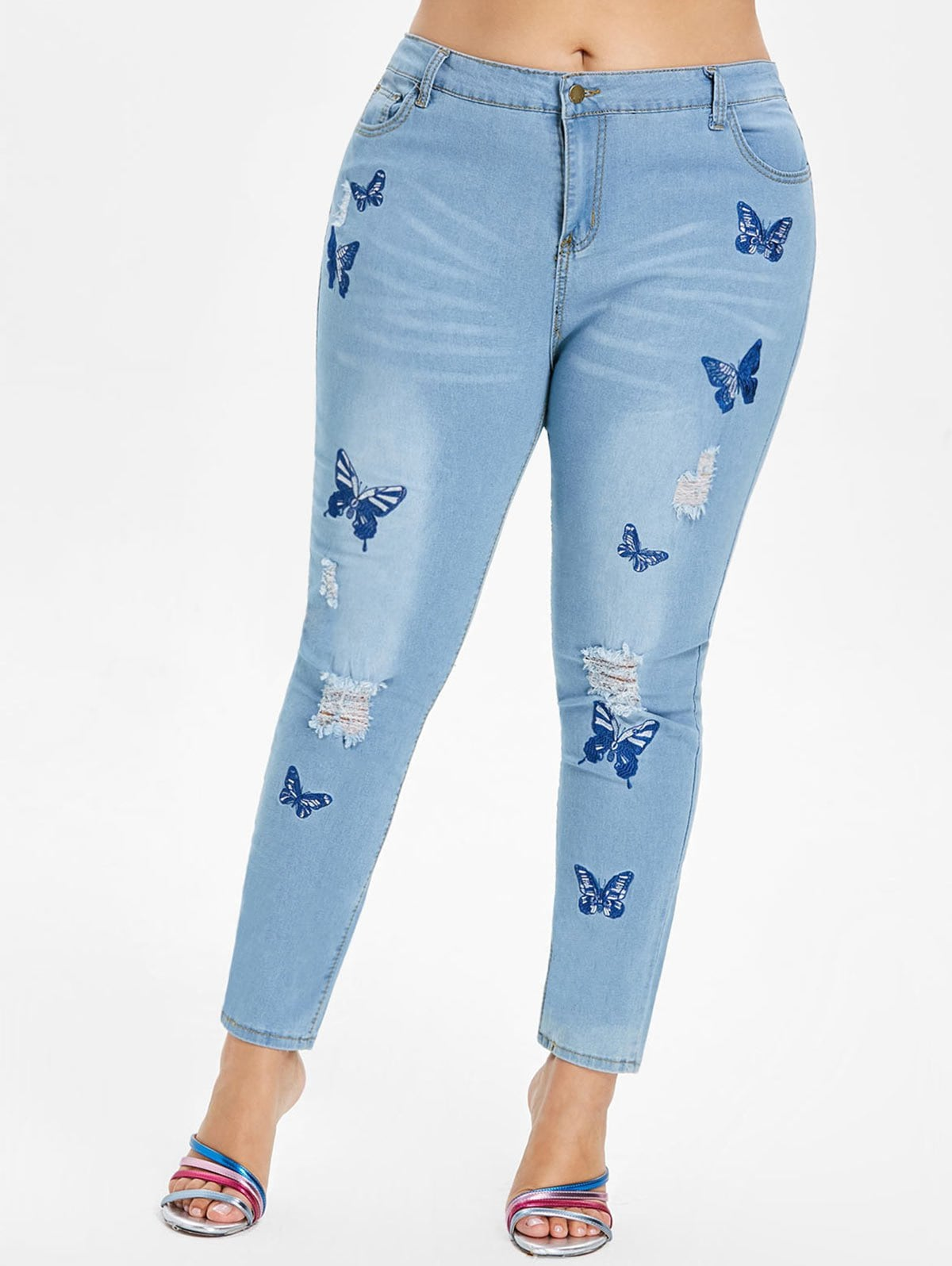 Plus Size Butterfly Embroidered Ripped Jeans