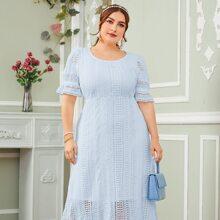 Plus Ruffle Hem Guipure Lace Overlay Dress