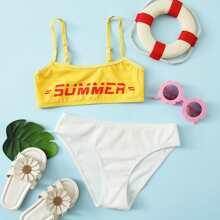 Girls letter Graphic Rib Bikini Swimsuit