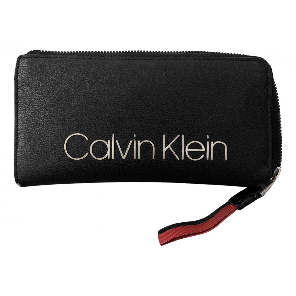 Calvin Klein - Portefeuille   pour femme en cuir - noir