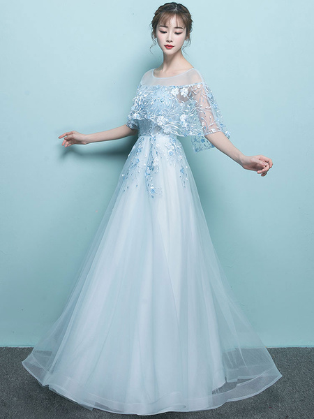 Milanoo Prom Dress 2020 A Line Jewel Neck Sleeveless Studded Lace Flower Formal Party Dresses Wedding Guest Dress