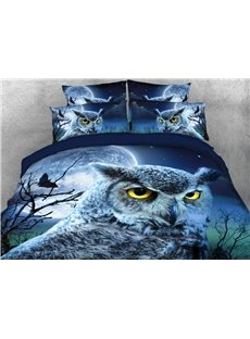 Vivilinen Owl Face with Full Moon Printed 4-Piece 3D Bedding Sets/Duvet Covers