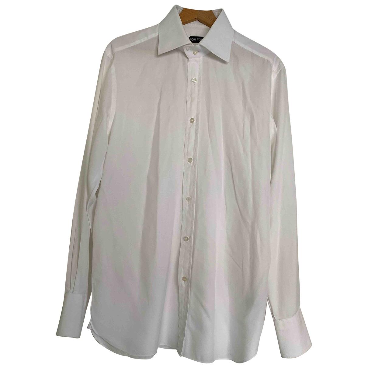 Tom Ford \N White Cotton Shirts for Men 42 EU (tour de cou / collar)