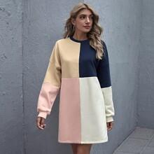 Vestido sudadera de color combinado de hombros caidos