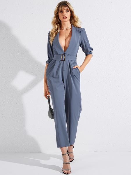YOINS Blue Belted Pockets Deep V Neck Half Sleeves Jumpsuit