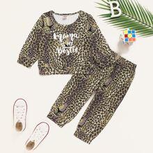 Baby Boy Leopard And Slogan Graphic Sweatshirt & Sweatpants