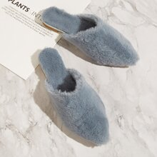 Point Toe Fluffy Mules