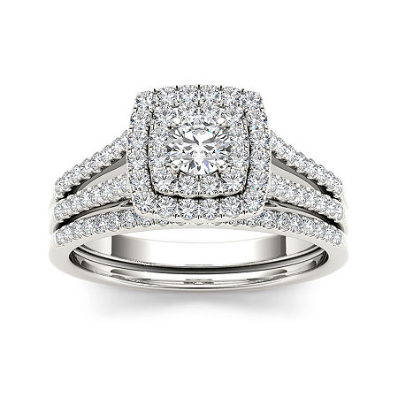 3/4 CT. T.W. Diamond 10K White Gold Bridal Set, 7 1/2 , No Color Family