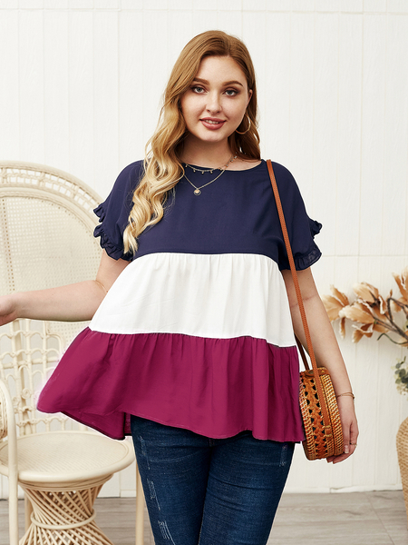 Yoins Plus Size Multicolor Patchwork Round Neck Short Sleeves Tee
