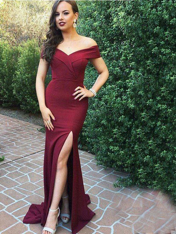Off-The-Shoulder Split-Front Sheath Evening Dress