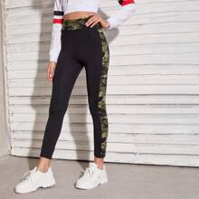 Camo Contrast Seam Side Wide Waistband Leggings