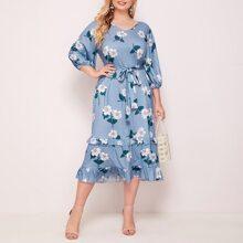 Kleid mit Laternenaermeln, Raffungsaum und Blumen Muster