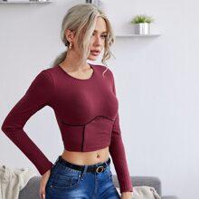 Seam Front Rib-knit Crop Top