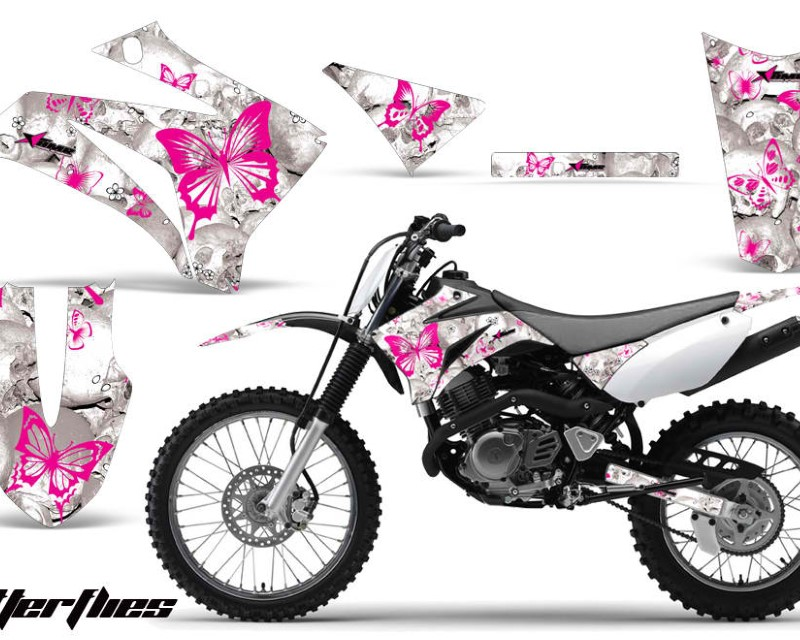 AMR Racing Dirt Bike Graphics Kit MX Decal Wrap For Yamaha TTR125LE 2008-2018áBUTTERFLIES PINK WHITE