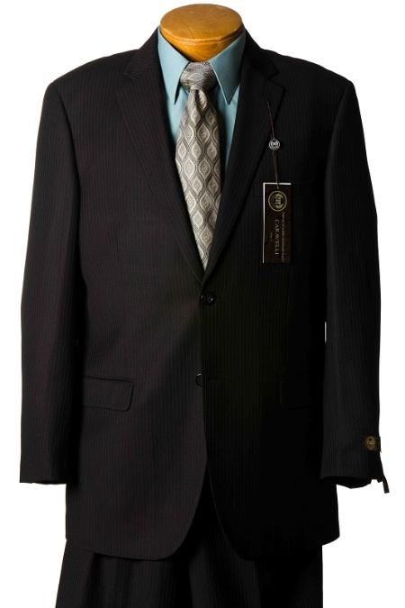 2 Button Black Pinstripe Italian Designer Suit Mens