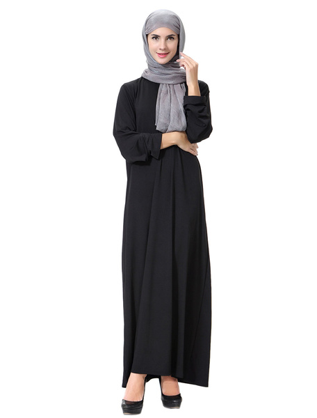 Milanoo Black Abaya Dress Long Sleeve Cut Out Muslim Dress