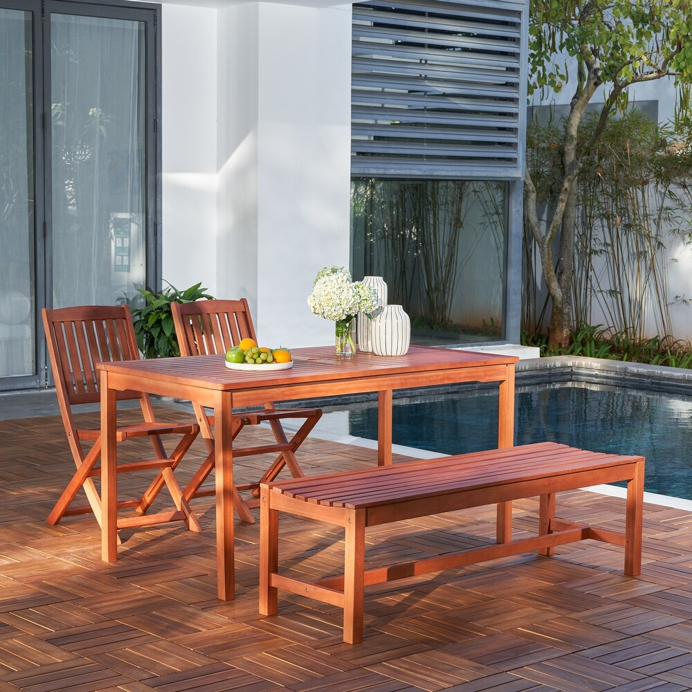 Waikiki Outdoor 4-piece Wood Patio Dining Set with Backless Bench and Folding Chairs (4-Piece Sets)