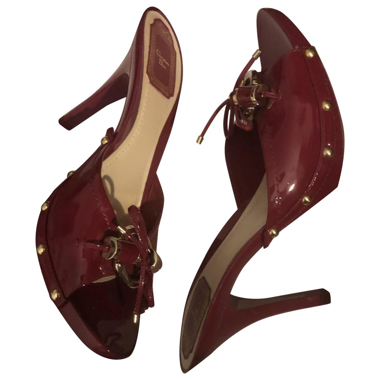 Dior - Sabots   pour femme en cuir verni - bordeaux