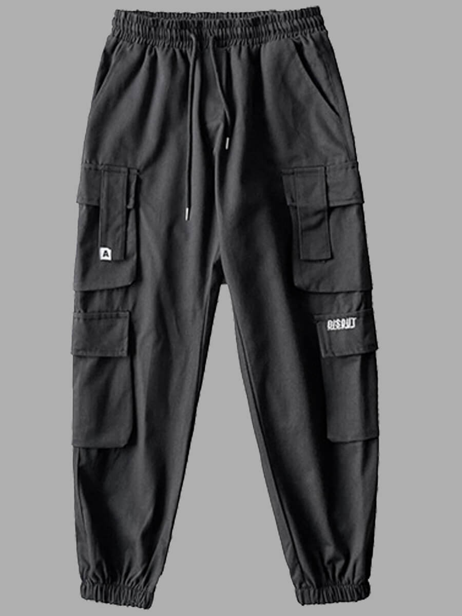 LW Lovely Casual Pocket Patched Black Men Pants