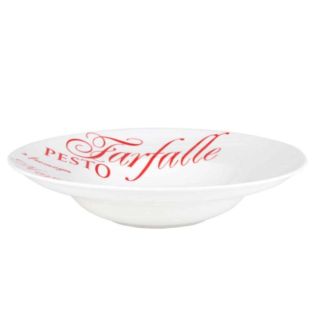 Suppenteller PASTA aus Porzellan, D 30 cm, rot