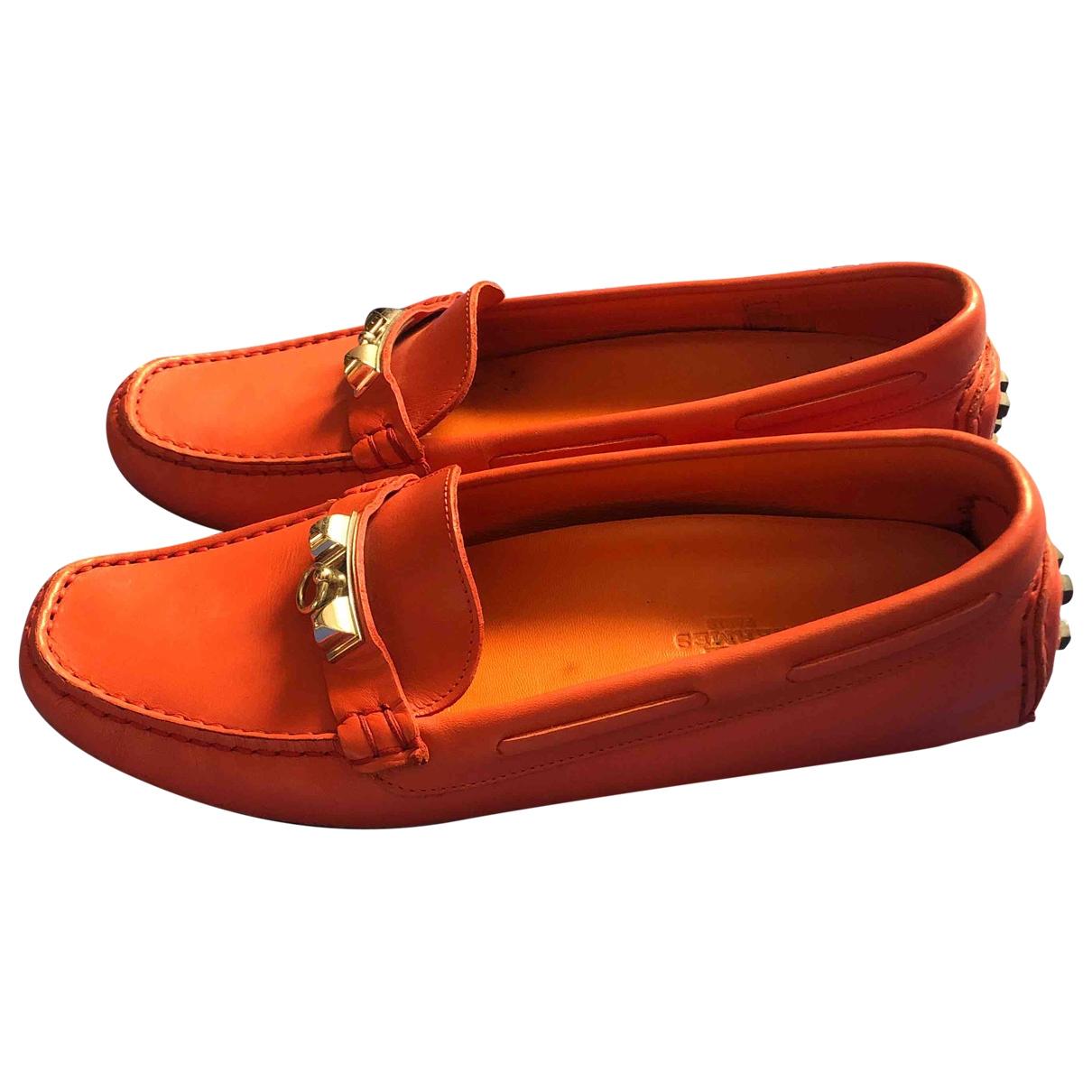Hermès Irving Orange Leather Flats for Women 36 EU