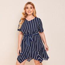 Plus Striped Belted Asymmetrical Hem Dress