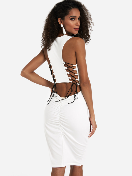 Yoins White Cut Out Lace-up Design Ruched Dress