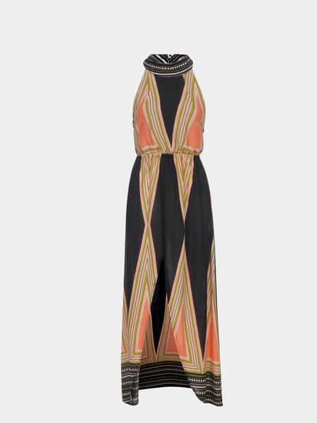 Yoins Vintage Halter Neck Striped Print Backless Maxi Dress