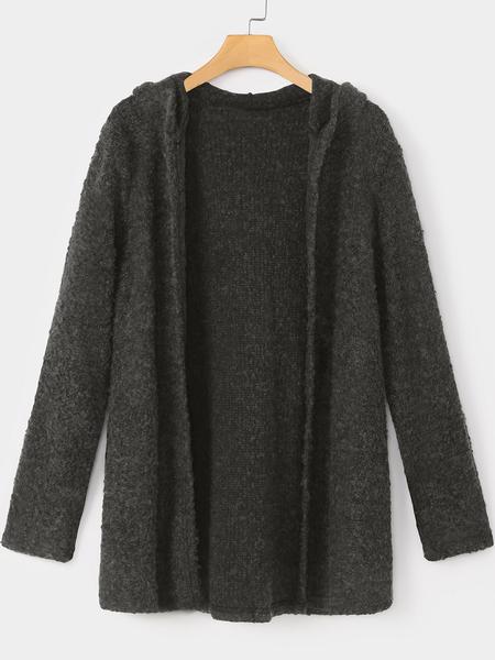 Yoins Dark Grey Plain Hooded Long Sleeves Coat