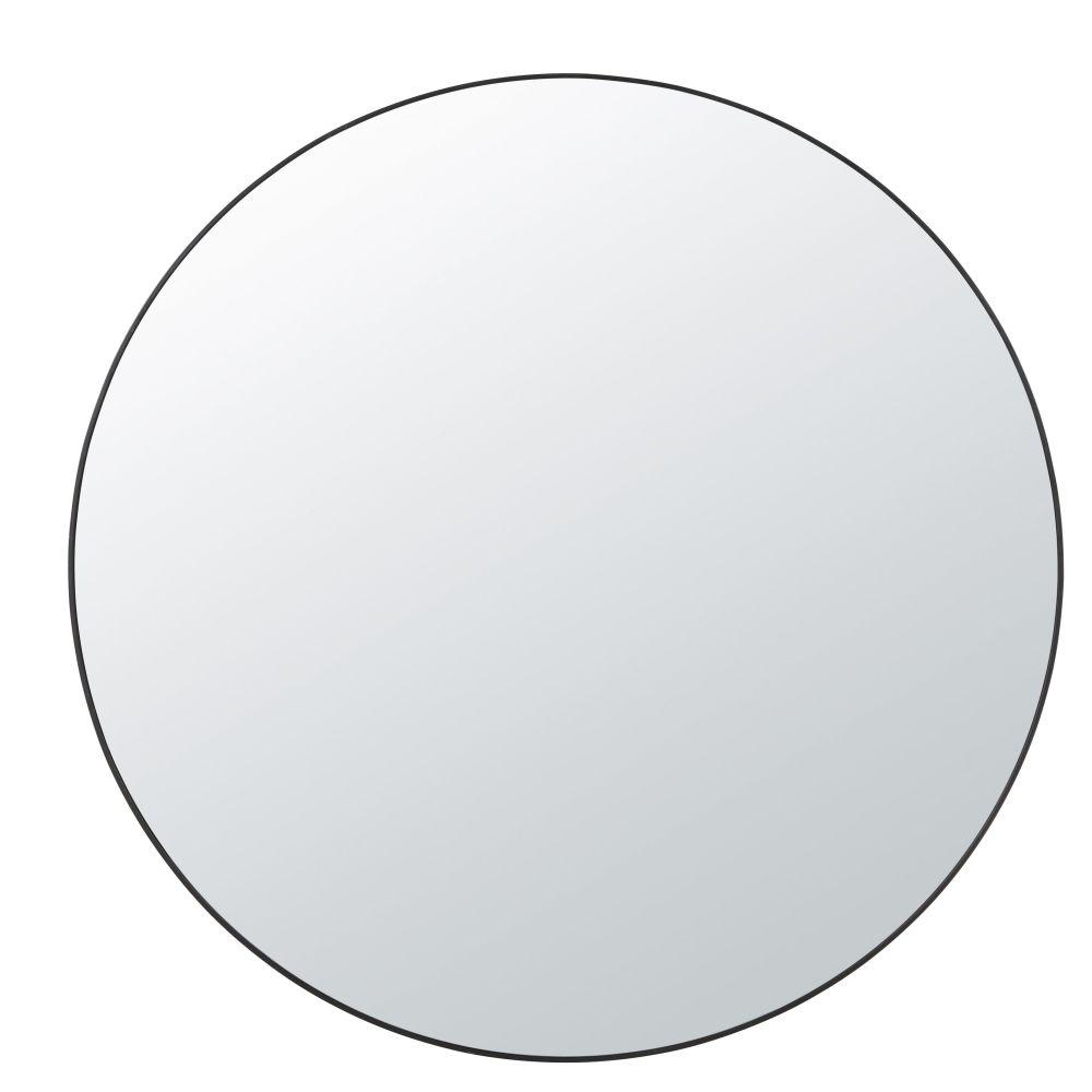 Runder Spiegel 2 Ablageflaechen aus Metall, schwarz D99