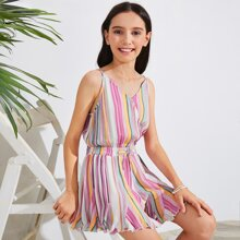 Girls Surplice Neck Tie Front Godet Hem Striped Cami Romper