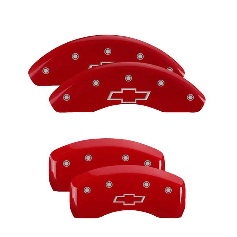 MGP Caliper Covers 14244SBOWRD Set of 4: Red finish, Silver Bowtie/Bowtie Chevrolet Malibu 2016-2020