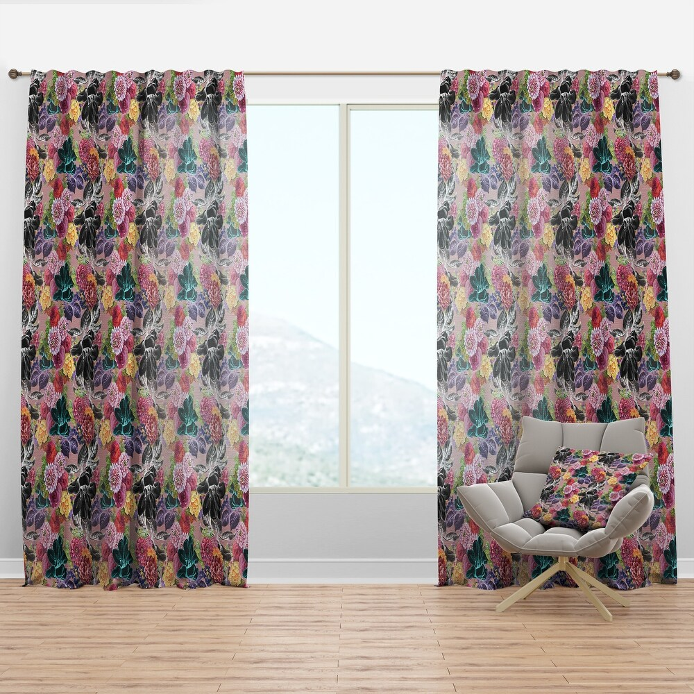 Designart 'Black Chrysanthemum And Blooming Roses' Floral Curtain Panel (50 in. wide x 84 in. high - 1 Panel)