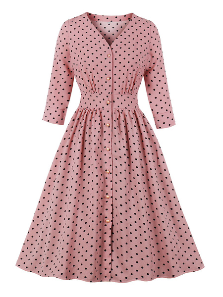 Milanoo Vintage Dress Womens Pink Polka Dot Long Sleeve Buttons 1950s Retro Dresses