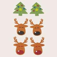 3 pares cubierta de pezon brillante con patron de navidad