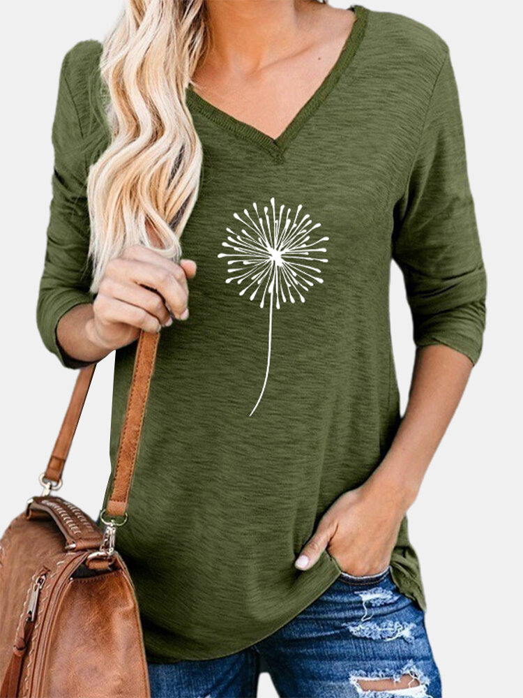 Floral Printed V-neck Long Sleeve Casual Women T-Shirt