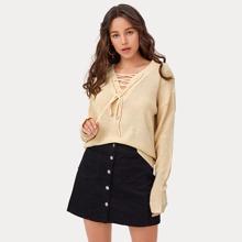 Drop Shoulder Lace Up Front Sweater