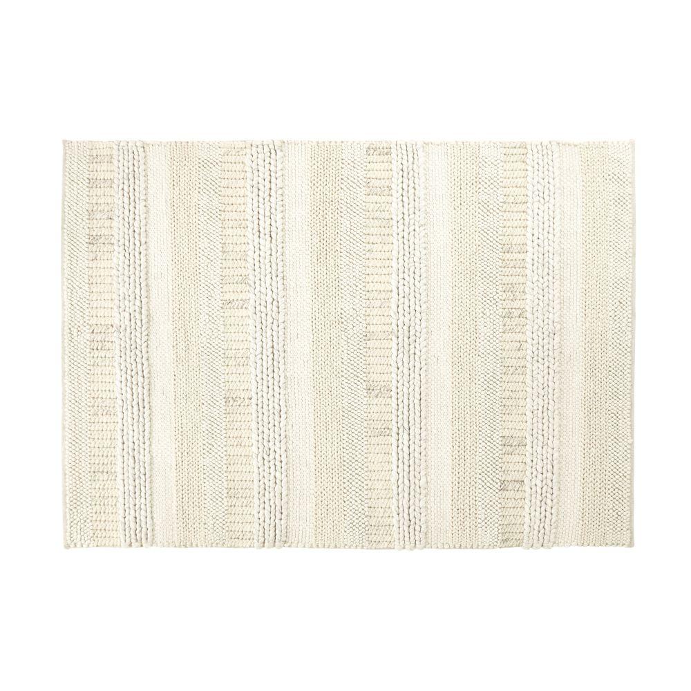 Gewebter Wollteppich in Ecru und Grau mit Bayadere-Streifenmuster 140x200