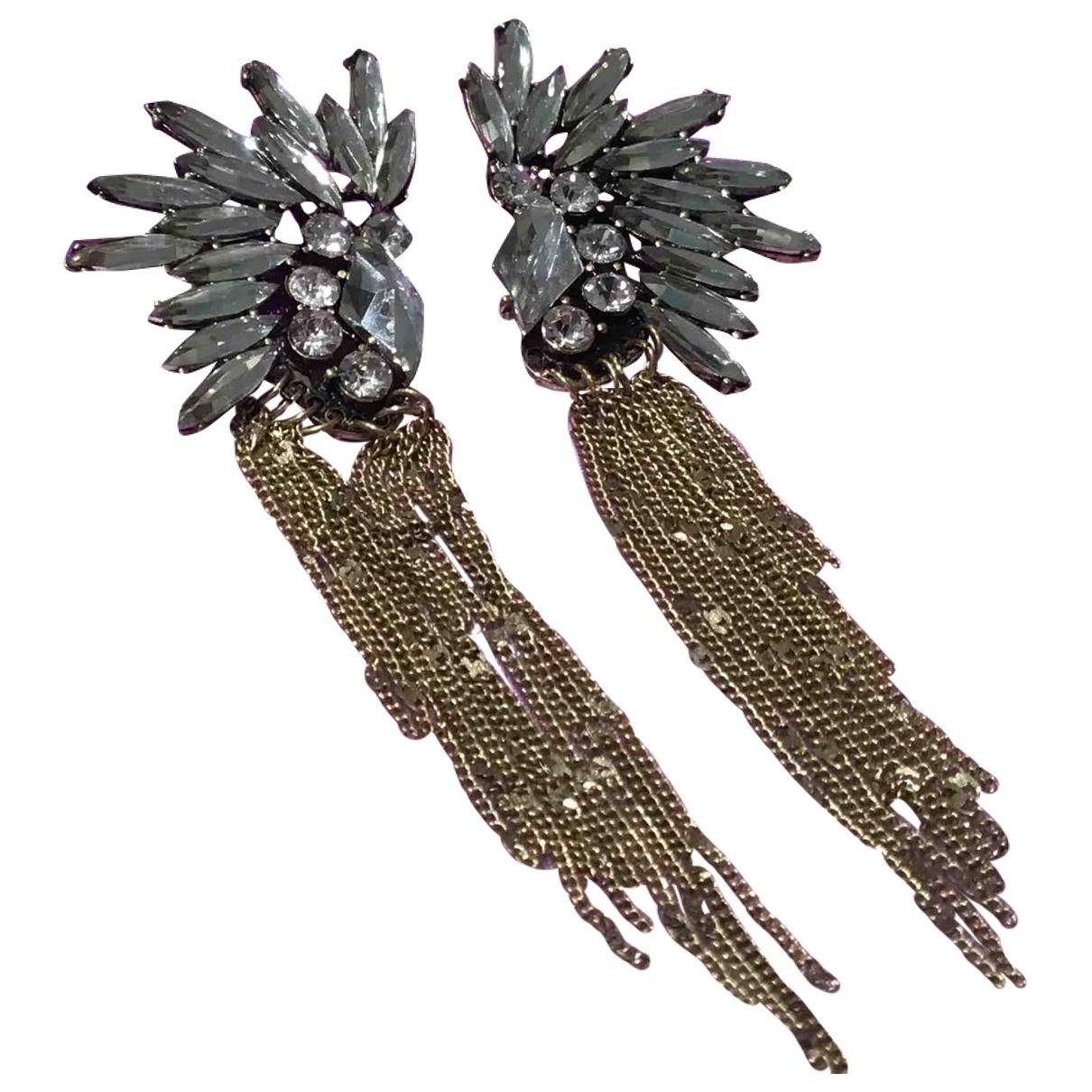 - Boucles doreilles Art Deco pour femme en cristal - dore