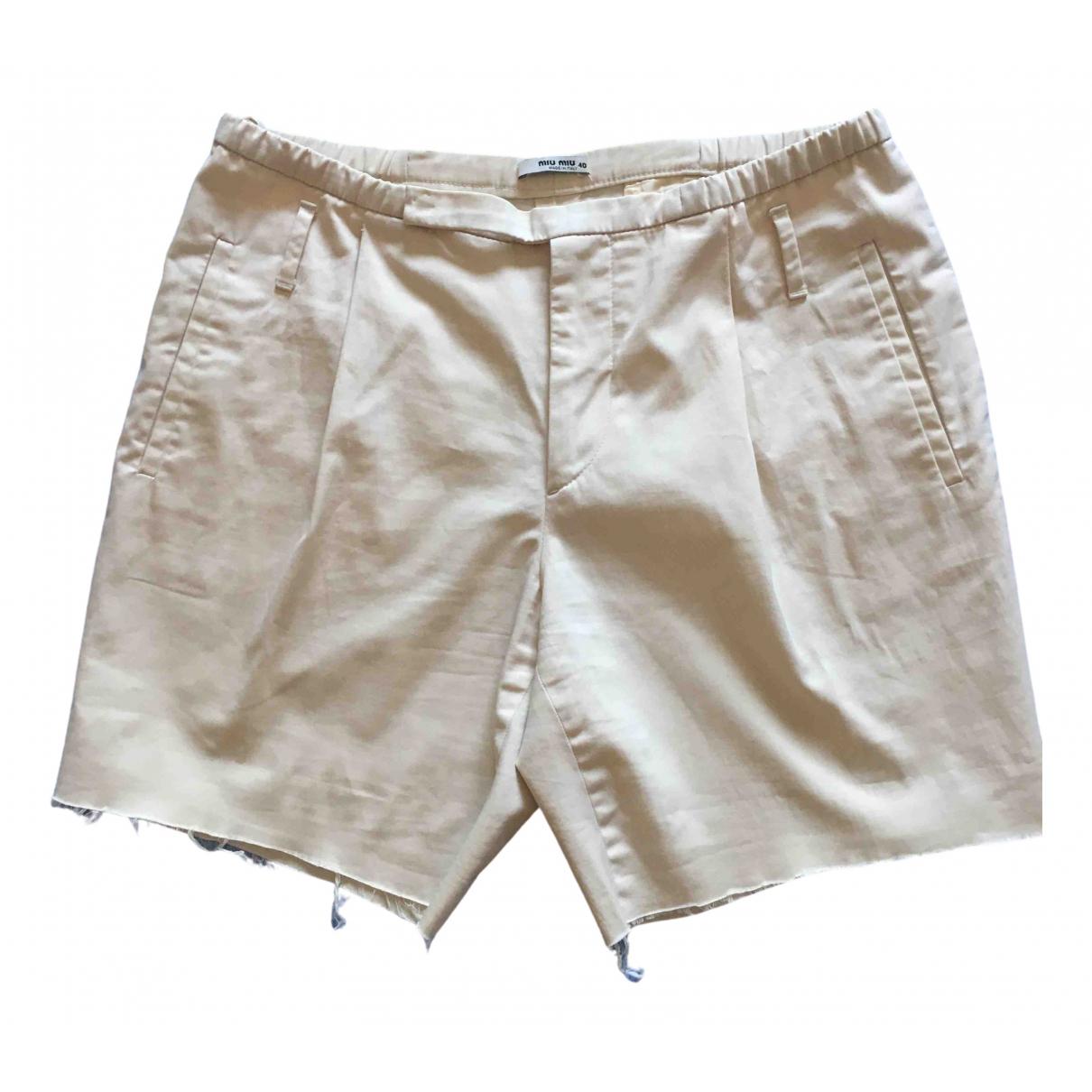Miu Miu \N Shorts in  Beige Baumwolle - Elasthan
