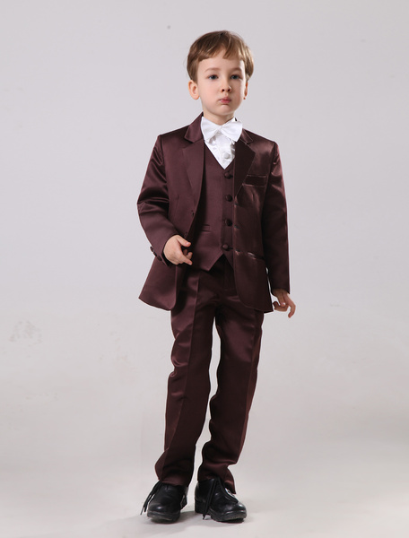 Milanoo Shaping Satin Three Button Designed Ring Bearer Suits For Boys