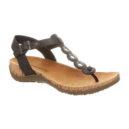 Bearpaw Womens Jean Flat Sandals, 9 Medium, Black