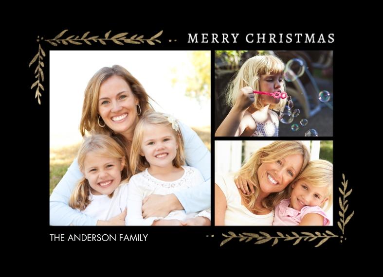 Holiday 5x7 Postcards, Card & Stationery -Postcard Christmas Foliage Corners