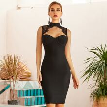 Adyce Lace Insert Cut Out Bodycon Dress