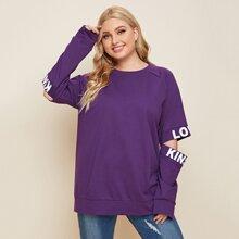 Sweatshirt mit Buchstaben Grafik, Leiterausschnitt und Raglanaermeln