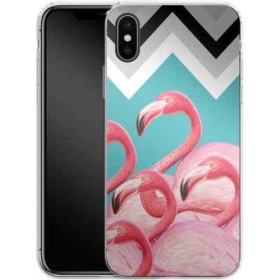 Apple iPhone X Silikon Handyhuelle - Flamingo Pattern von Mark Ashkenazi