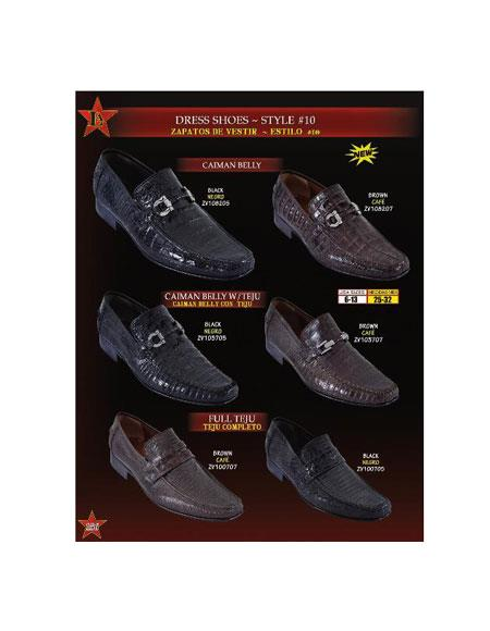 Caiman Belly/Teju Lizard Slip On Loafer Dress Shoes Black and Brown