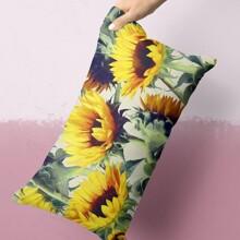 Funda de almohada lumbar con estampado de girasol